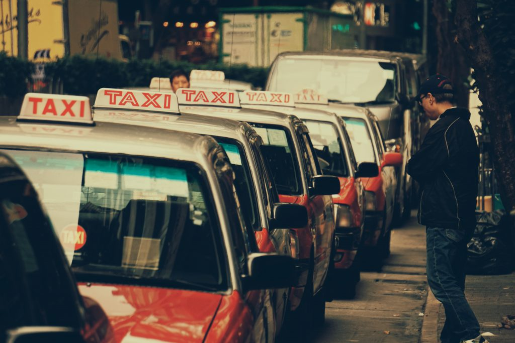Row of Taxi Cabs